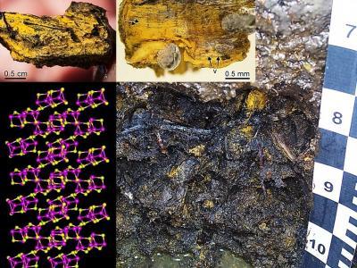 Makroskopische Ausfällungen des Arsensulfids Realgar (alpha-As4S4) in Gleyböden der geochemischen Anomalie von Mokrsko, Tschechische Republik